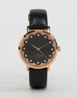 Kate Spade Часы с черным кожаным ремешком Metro 1YRU0583. Цвет: черный