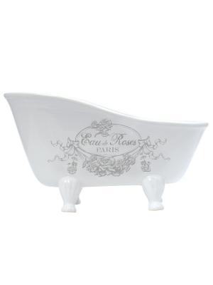 Подставка-ванночка средняя керамическая 25,5х13,5х14см Розовая вода Mathilde M. Цвет: белый