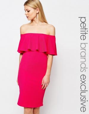 John Zack Petite Облегающее платье с оборкой. Цвет: розовый
