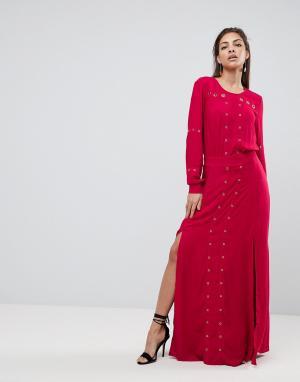 Finders Keepers Платье макси с разрезом Maddox. Цвет: красный