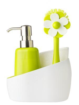 Щетка для посуды, губка, дозатор на подставке VIGAR. Цвет: салатовый