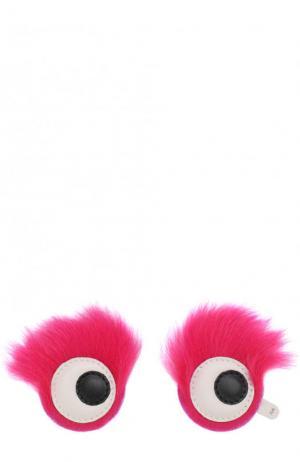 Аппликация Eyes с отделкой из овчины Anya Hindmarch. Цвет: фуксия