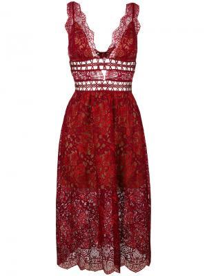 Кружевное платье с глубоким вырезом For Love And Lemons. Цвет: красный
