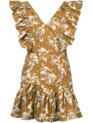 Расклешенное платье с цветочным узором Love Shack Fancy. Цвет: металлический