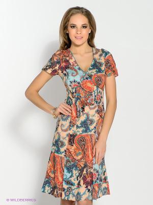 Платье KEY FASHION. Цвет: персиковый, темно-синий, голубой, красный