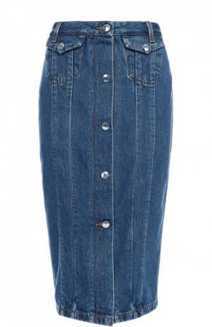 Джинсовая юбка-карандаш на пуговицах Acne Studios. Цвет: синий