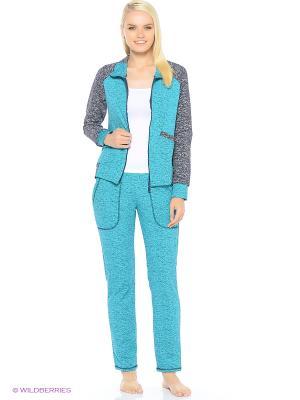 Комплект домашней одежды ( куртка,брюки) HomeLike. Цвет: бирюзовый