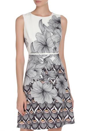 Платье с поясом и цветочным рисунком Toy G.. Цвет: белый, черный