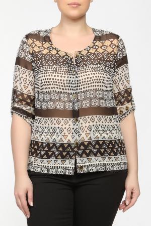 Рубашка-блузка Elena Miro. Цвет: бежевый, коричневый, принт