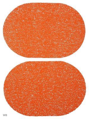Набор плейсматов, дизайн Паутинка, овал 45х30 - 2 шт., ПВХ Dorothy's Нome. Цвет: оранжевый