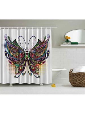 Фотоштора для ванной Жёлтые листья, лиловые цветы, бирюзовое дерево, разноцветная бабочка, 180x200 Magic Lady. Цвет: белый, желтый, зеленый, красный, розовый