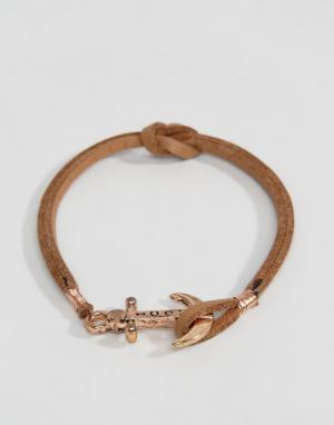 Icon Brand Светло-коричневый кожаный браслет с якорем. Цвет: рыжий