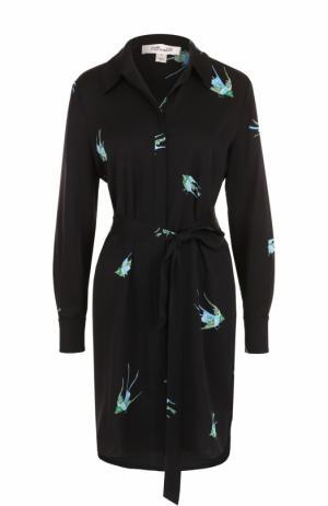 Шелковое платье-рубашка с принтом и поясом Diane Von Furstenberg. Цвет: разноцветный