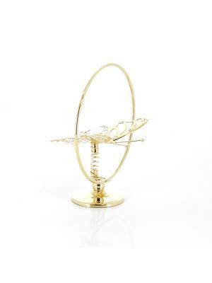 Миниатюра  Бабочка золотистого цвета с бесцветными кристаллами CRYSTOCRAFT. Цвет: золотистый