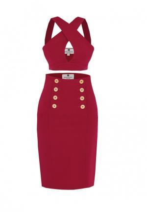 Комплект топ и юбка Bergamoda. Цвет: бордовый
