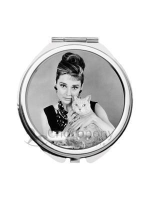 Зеркальце карманное Одри и кот Chocopony. Цвет: черный, серый