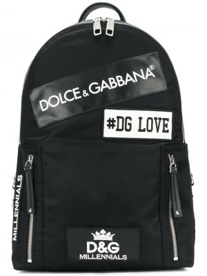 Рюкзак с заплатками Dolce & Gabbana. Цвет: чёрный