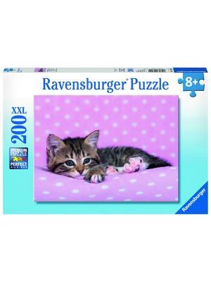 Пазл Котёнок отдыхает XXL 200 шт Ravensburger. Цвет: розовый