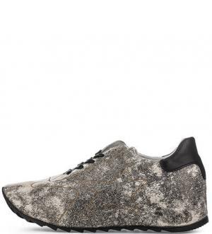 Кожаные кроссовки с вкладной стелькой Felmini. Цвет: серый