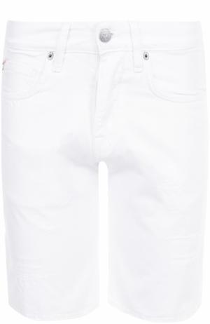 Джинсовые шорты с потертостями 2 Men Jeans. Цвет: белый