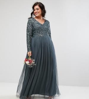 Maya Plus Платье макси с длинными рукавами, пайетками и юбкой из тюля. Цвет: синий