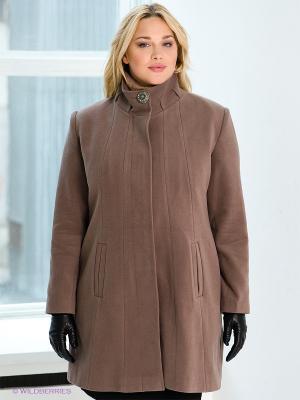 Пальто Gemko plus size. Цвет: темно-бежевый