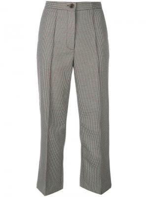 Укороченные брюки с узором в ломаную клетку Erika Cavallini. Цвет: зелёный