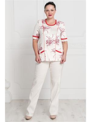 Блузка VERA NOVA. Цвет: красный, белый
