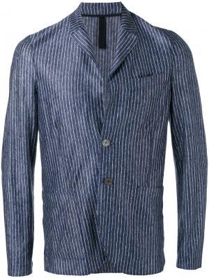 Блейзер в полоску с накладными карманами Harris Wharf London. Цвет: синий