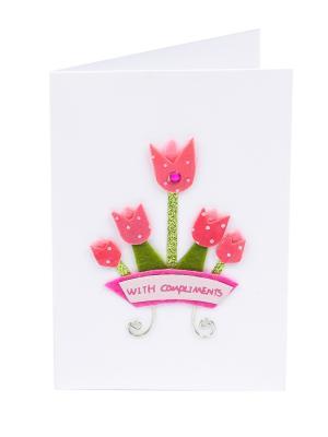 Открытка Розовые тюльпаны, 8*12 см. DEEPOT. Цвет: зеленый, белый, розовый