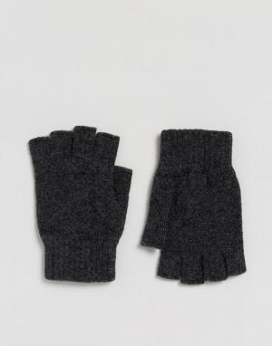 Glen Lossie Перчатки без пальцев из овечьей шерсти. Цвет: серый