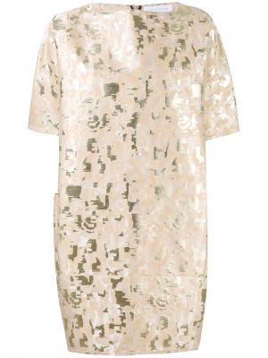 Жаккардовое платье Gianluca Capannolo. Цвет: телесный