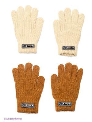 Перчатки, 2 пары FOMAS. Цвет: коричневый, молочный