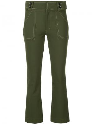Укороченные брюки клеш Derek Lam 10 Crosby. Цвет: зелёный