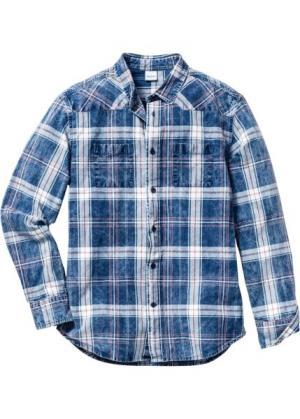 Рубашка Regular Fit с длинным рукавом (белый/синий джинсовый в клетку) bonprix. Цвет: белый/синий джинсовый в клетку