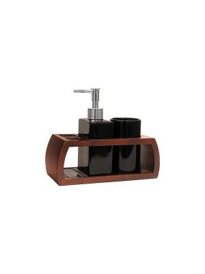 Набор для ванн из 3 предметов (подставка, дозатор, стакан) Blonder Home. Цвет: черный