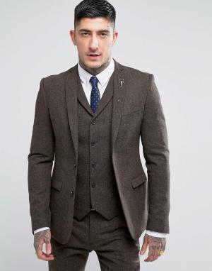 RUDIE Пиджак скинни Wool. Цвет: коричневый