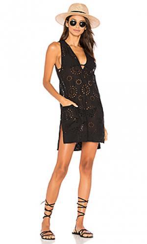 Кружевное платье cecile Vix Swimwear. Цвет: черный