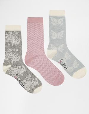 Lovestruck 3 пары носков (кремовый, серый с цветочным принтом). Цвет: серый