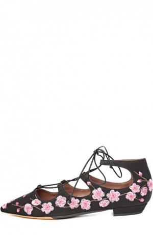 Текстильные балетки Magnolia с вышивкой Tabitha Simmons. Цвет: черный
