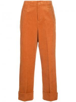 Прямые вельветовые брюки En Route. Цвет: жёлтый и оранжевый
