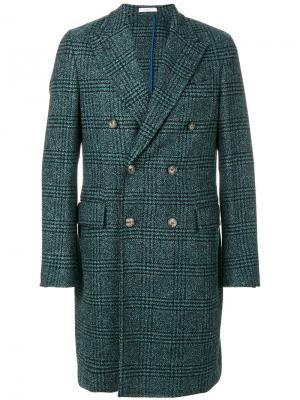 Двубортное пальто Boglioli. Цвет: синий