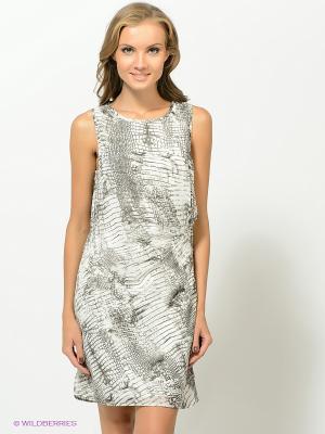Платье Vila. Цвет: серо-зеленый, белый