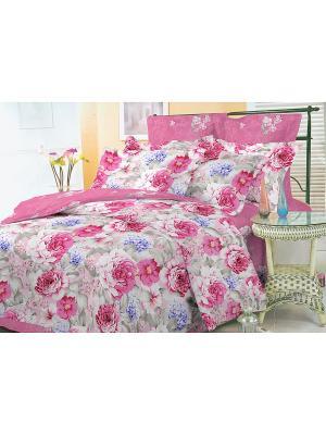 Комплект постельного белья 1,5 сп. сатин, рисунок 677 LA NOCHE DEL AMOR. Цвет: розовый
