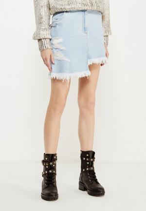 Юбка джинсовая Versus Versace. Цвет: голубой