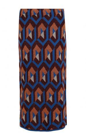 Вязаная юбка-миди с металлизированной нитью Dries Van Noten. Цвет: синий