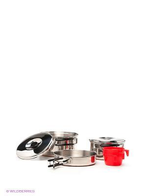 Набор посуды на 3 персоны Nova tour. Цвет: серебристый, красный