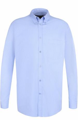 Хлопковая рубашка свободного кроя Balenciaga. Цвет: голубой