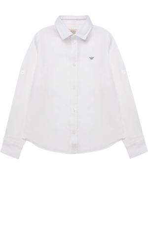 Классическая рубашка из льна Giorgio Armani. Цвет: белый