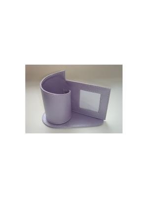 Подставка для канцелярских принадлежностей-с рамкой фотографии из ПВХ. 17.8х9.6х13.0 см Magic Home. Цвет: фиолетовый